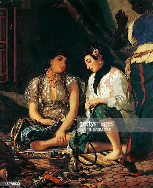 Women of Algiers in their apartment by Eugene Delacroix oil on canvas 180x229 cm Detail Paris Musée Du Louvre