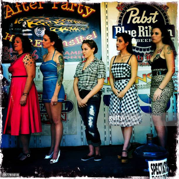 FREDERICKSBURG VA OCTOBER 8 Women of all ages line the stage to compete in a pinup girl contest during the second annual Rockabilly Hot Rod Rumble on...