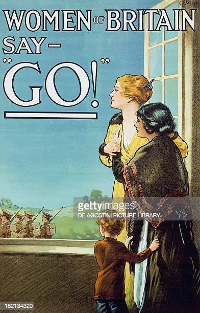 Women of Britain Say Go propaganda poster for enlistment World War I United Kingdom 20th century London Imperial War Museum