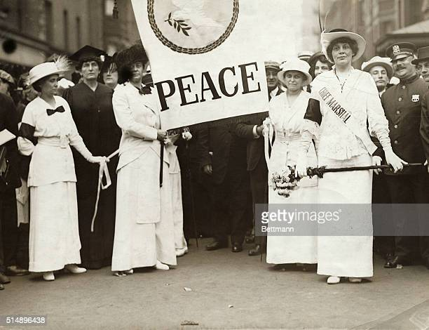 Women of New York and adjacent cities march down Fifth Avenue to the rhythm of muffled drums in an international protest against war LR Miss Rose...