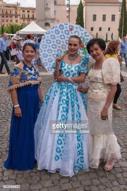 Women of Philippines with traditional clothes during the XXVII edition of the Feast of Peoples event promoted by the Migrantes Office of the diocese...