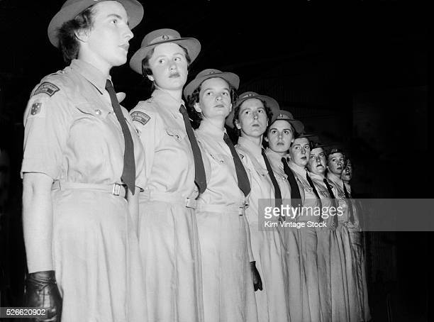 Women of the Royal Australian Army Corps line up ca 1955
