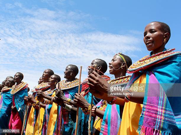 Women of the Umoja Village are seen in Samburu county some 350 km north of the capital Nairobi on September 18 2015 The village where men are banned...