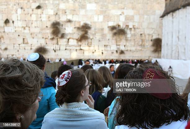 Women of the Wall a group of religiouslyobservant Jewish women wear kippas as they hold a prayer service at the Western Wall Judaism holiest site in...