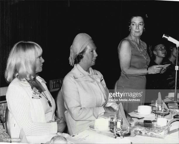 Women of the Year Luncheon at Hilton HotelL to R Diane Cilento Lady Cutler and Lady Wilson at microphone November 7 1977