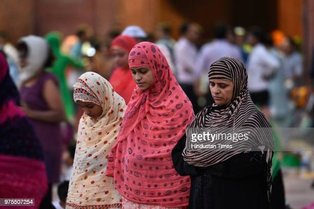 Women offer prayers during the last Friday of Ramzan at Jama Masjid on June 15 2018 in New Delhi India The festival of Eid will be celebrated in...