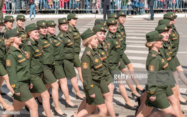women officers at military parade in wwii victory day - civilian stock pictures, royalty-free photos & images