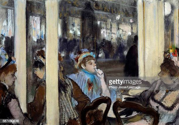Women on a cafe terrace Pastel painting by Edgar Degas 1877 054 x 071 m Orsay Museum Paris