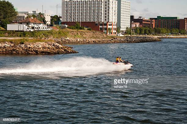 women  on a sea doo - cape breton island stock pictures, royalty-free photos & images