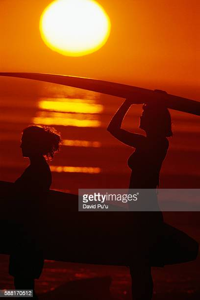 Women on Beach Carrying Surfboards