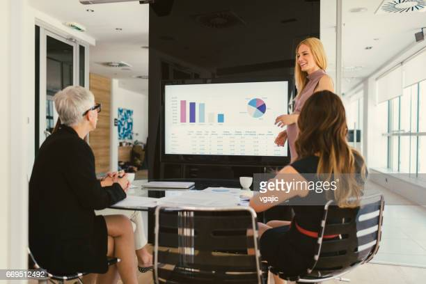 women on presentation - lcd television stock pictures, royalty-free photos & images