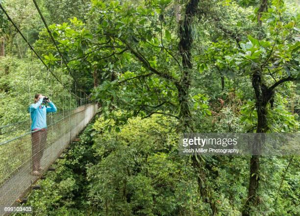 Women on sky bridge looking for wildlife in Costa Rican Cloud Forest