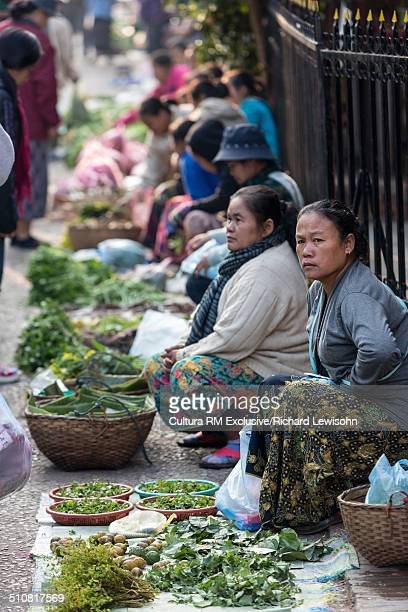 women on street market selling vegetables, luang prabang, laos, southeast asia - laotian culture stock pictures, royalty-free photos & images