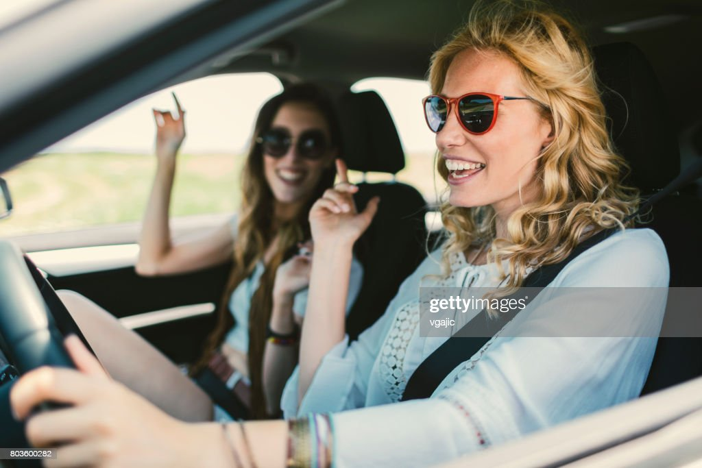 Women on the road trip : Stock Photo
