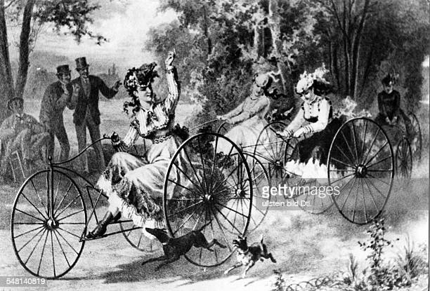 Women on tricycles painting ca 1890 Photographer Walter Gircke Vintage property of ullstein bild