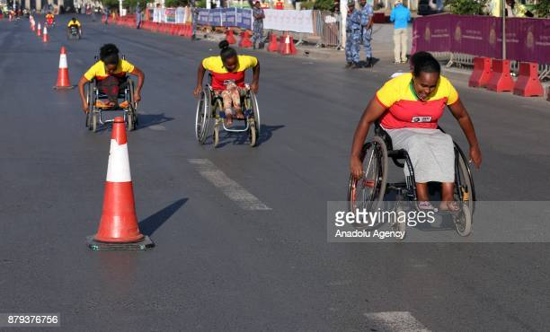 Women on wheelchairs compete in the Great Ethiopian Run at Adwa Square in Addis Ababa Ethiopia on November 26 2017 Total of 44000 professional and...