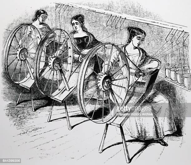 Women operating a spinning machine to reel silk in a textile silk mill Derby England 1843