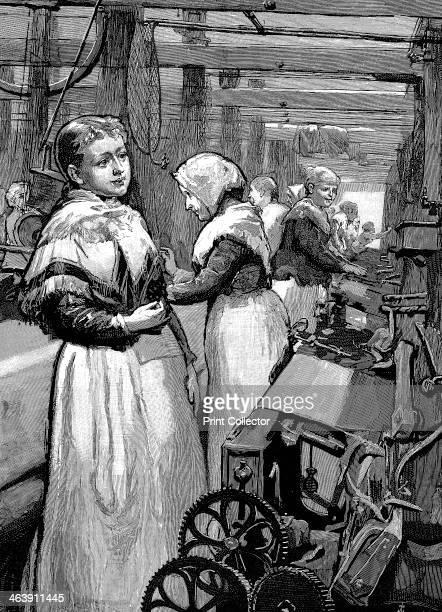Women operatives tending power looms in a Yorkshire woollen mill, 1883.