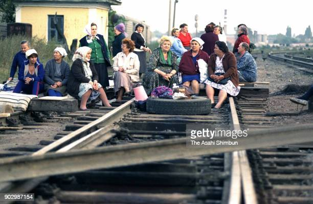 Women opposing to Moldova's independence from the Soviet Union stage a sit in to shut down the railway leading to the capital on September 13, 1991...
