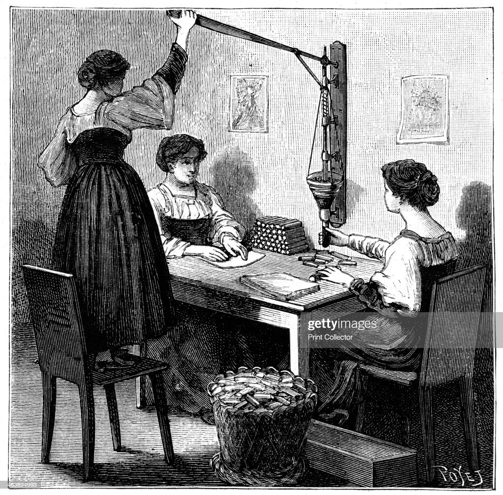 Women packing dynamite cartridges, 1888. Artist: Anon : News Photo