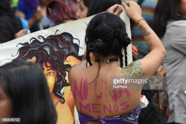 Women participate in a demonstration of International Women's Day at Reforma Avenue on March 08 2017 in Mexico City Mexico The International Women's...