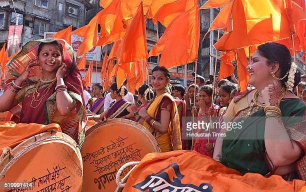 Women participate in Gudi Padwa procession at Girgaum on April 8 2016 in Mumbai India Gudi Padwa is the Sanskrit name for Chaitra Shukla Pratipada It...