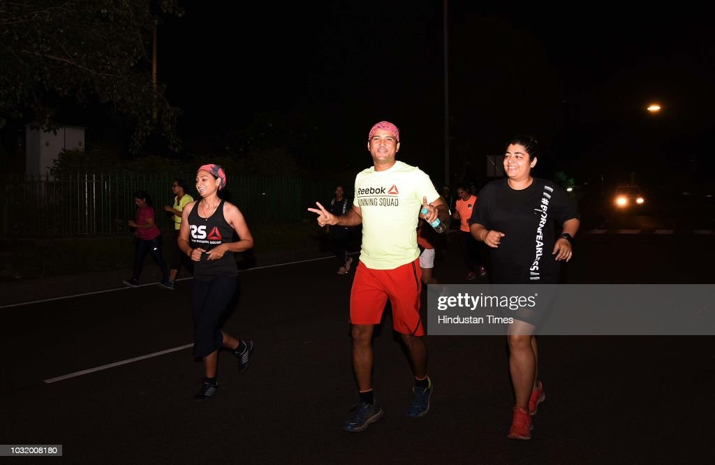 Women participate in the The Fearless Run, a midnight run of 5 kilometers which was organised by the Delhi Police in association with the NGO United States Foundation, at Connaught Place on September 9, 2018 in New Delhi, India.