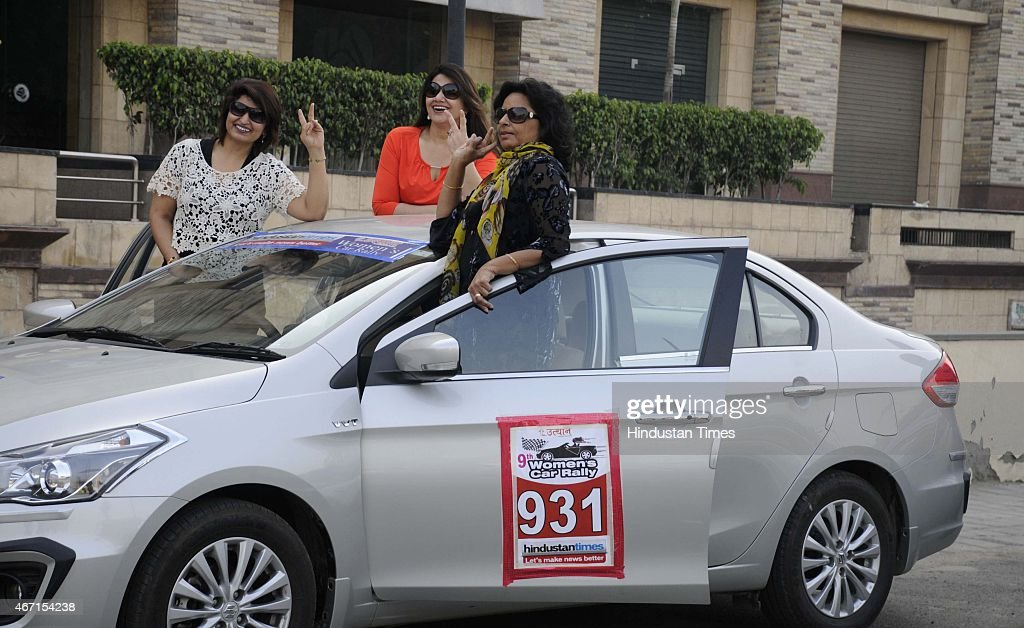 104 women participated in 9th Women Car rally organized by Uthaan, NGO working for making Gurgaon Green and Energy Conservation, on March 21, 2015 in Gurgaon, India. The rally started from Ninex mall Sohna road and ended at Mandawar Rajasthan.