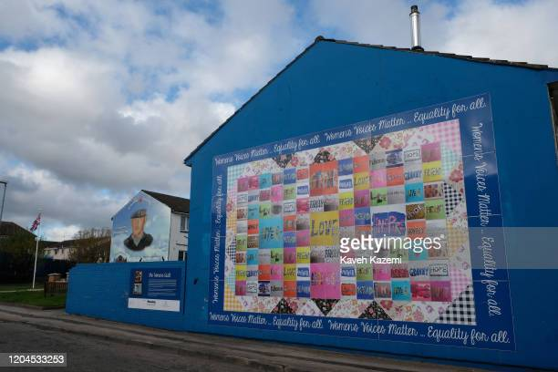 A women peace quilt mural seen near the memorial site of Stevie McKeag also known as TopGun who was a Loyalist paramilitary commander of Ulster...