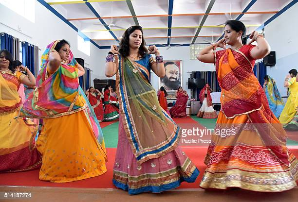 Women perform at a Rajasthani folk dance during full dress rehearsal for participating in the world culture festival 2016 Celebrating 35 years of...