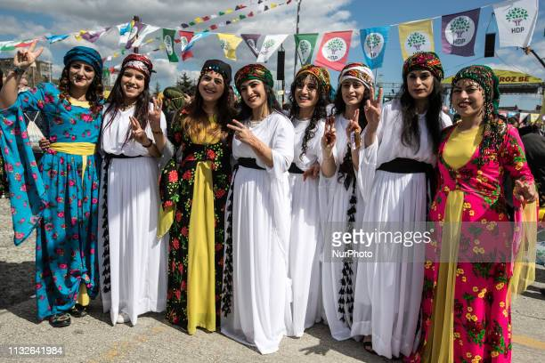 Women perform traditional dance during the Newroz, celebrations wearing traditional clothes, participate in Nowroz in Istanbul, Turkey on March 24,...