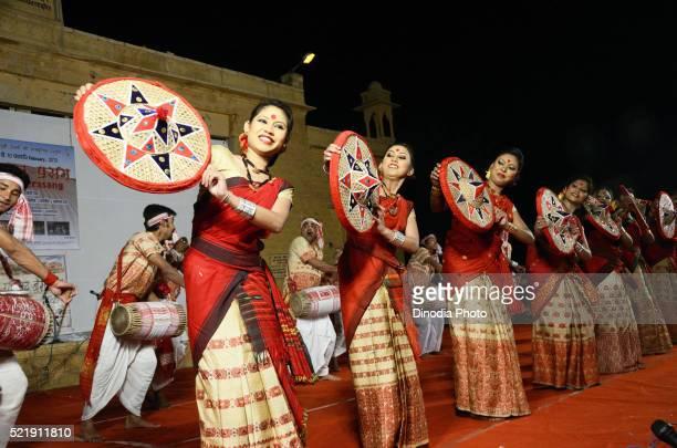Women performance of Asmese Bihu dance at Jaisalmer, Rajasthan, India