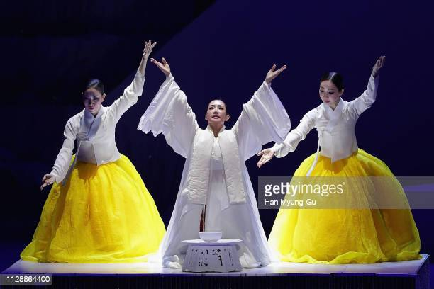 Women performs onstage during the PyeongChang 2018 Olympic and Paralympic Winter Games 1st Anniversary Festival In Gangneung on February 9 2019 in...