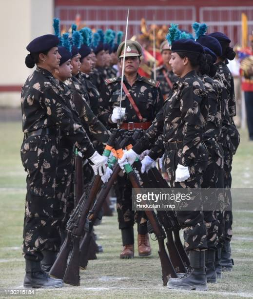 Women personnel of the 23rd battalion of Madhya Pradesh Special Armed Force perform during a silent drill demonstration, at Motilal Nehru Police...