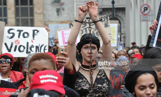 Women picket during the #TotalShutDown march against genderbased violence on August 01 2018 in Cape Town South Africa Thousands of women across the...