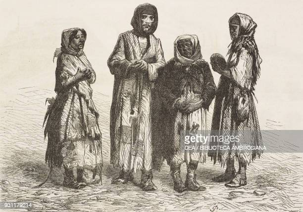 Women picking through leftover coal, Cyfarthfa, United Kingdom, drawing by Jean-Baptiste Henri Durand-Brager from A visit to the great workshops of...