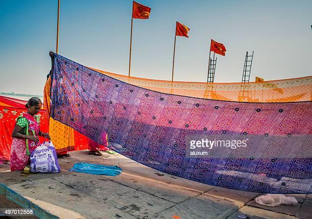 women pilgrims in varanasi india - pilgrims and indians stock photos and pictures