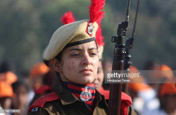 Women police march past during the full dress rehearsal for Republic Day parade at Tau Devi Lal Stadium on January 24 2020 in Gurugram India