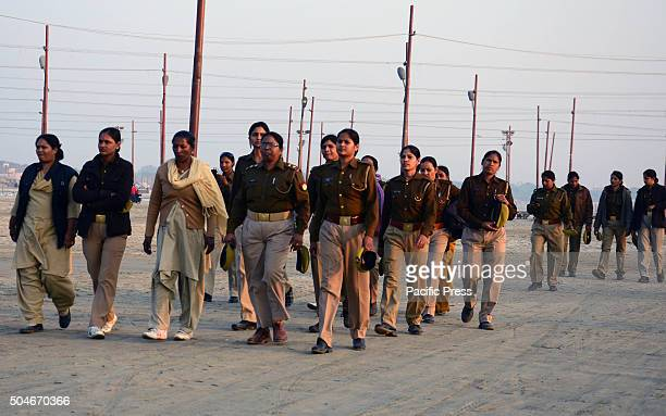Women police patrol at Sangam the confluence of River Ganga Yamuna and mythological Saraswati during Magh mela festival in Allahabad Hundreds of...