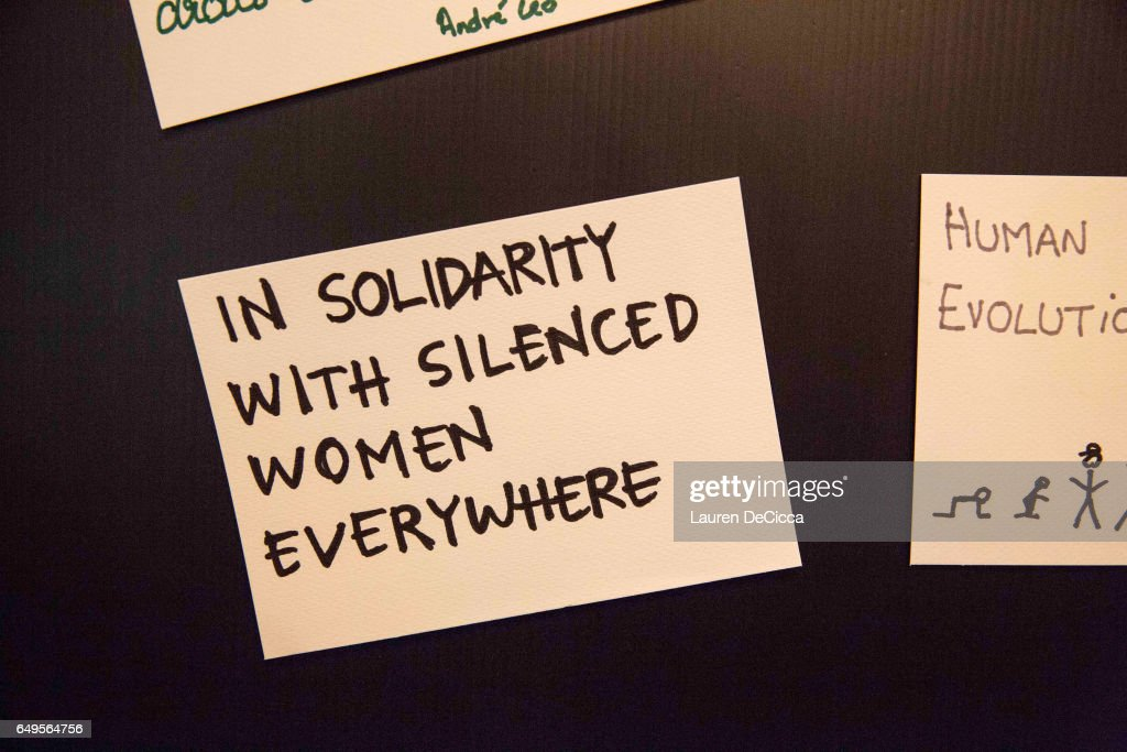 Women posted index cards stating why they stand for women's rights on March 8, 2017 in Bangkok, Thailand. International Women's Day was first marked in 1911 and celebrated each year on 08 March with thousands of events around the world by women's networks.