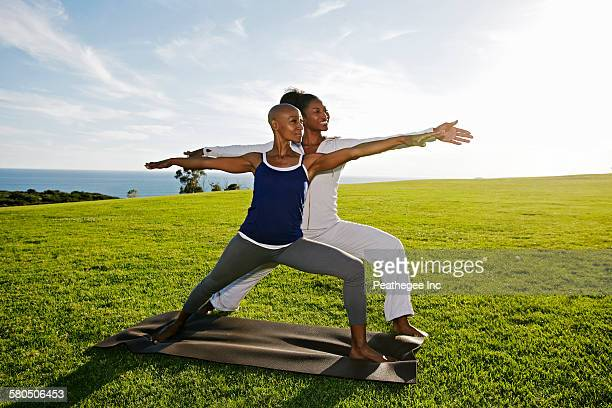 women practicing yoga in park - gras stock pictures, royalty-free photos & images