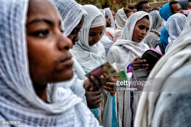 Women praying at the Fasilides Bath The annual Timkat festival an Orthodox Christian celebration of Epiphany remembers the baptism of Jesus in the...