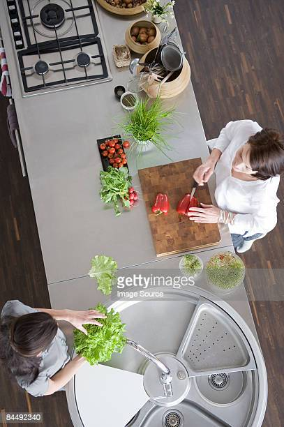 Women preparing salad