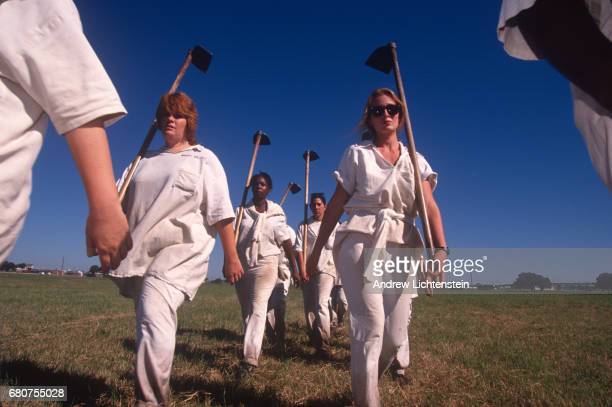 Women prisoners in the state of Texas work the fields in hoe squad lines like their male counterpoints at the Texas Department of Criminal Justice's...