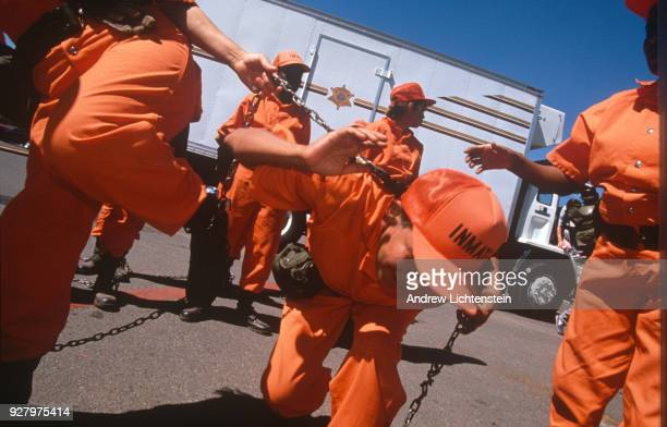 Women prisoners on Maricopa County Sheriff Joe Arpaio's chain gang leave for a day of collecting trash from local roads on September 20 1996 in...