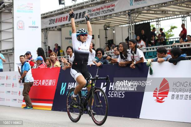 Women Professional cyclists participate in a race during the 2018 Hong Kong Cyclothon on October 14 2018 in Hong Kong Hong KongThe event attracted a...