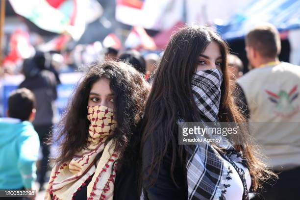 Women protest against the government at Tahrir Square in Iraqi capital Baghdad on February 13, 2020.
