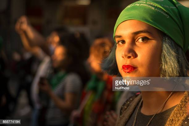 Women protest demanding the decriminalization of abortion in Buenos Aires on September 29 2017 In addition it was sought to make visible the gender...