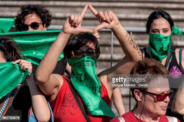Women protest in a demonstration 'Obiezione Respinta' organized by 'Non una di meno' movement to remember the 194 law of 1978 which legalised...