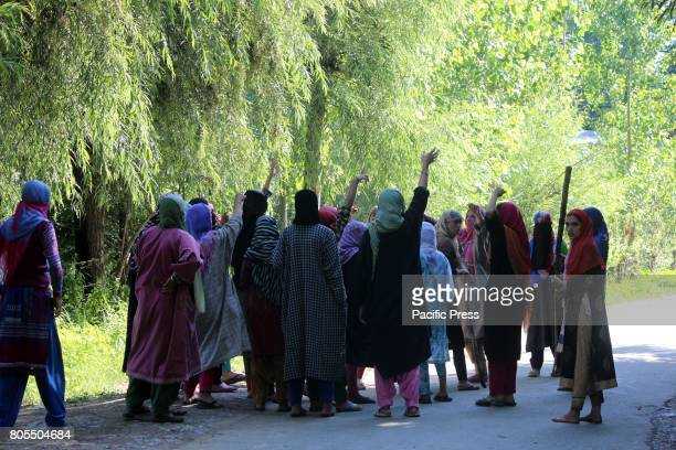 DAILGAM ANANTNAG JANMMU KASHMIR INDIA Women protest near encounter site at Dailgam area of South Kashmir's Anantnag Indian controlled Kashmir Two...